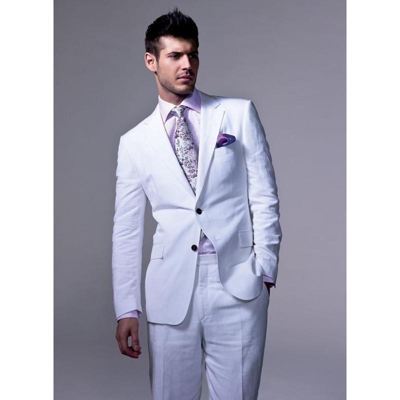 D'été décontracté l'écart revers blanc costume de mariage hommes costume smoking hommes deux boutons costume parrain (veste + pantalon)