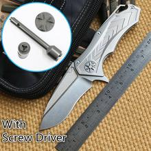 Ben Star Lord DAIDO STEEL D2 blade Ceramic ball bearing Flipper folding knife Titanium outdoor camp hunt pocket knives EDC tools