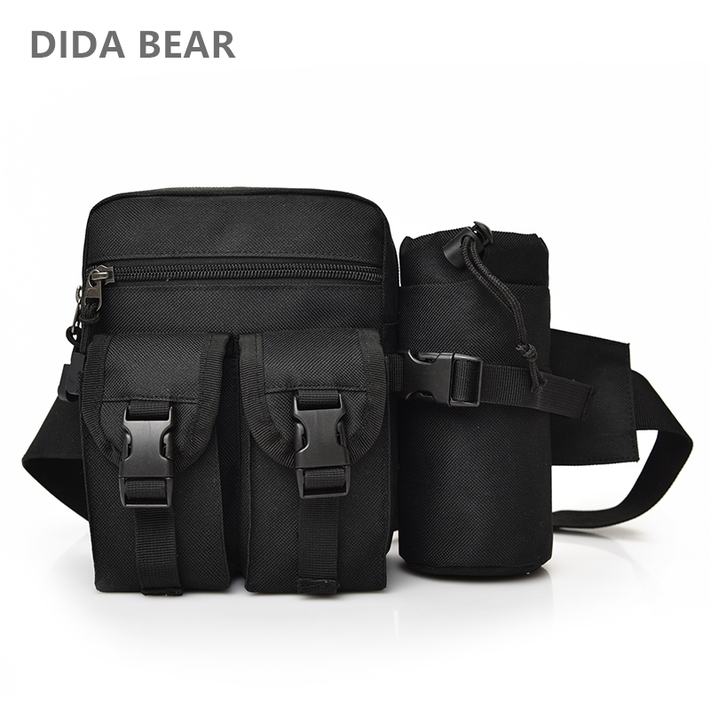 DIDA BEAR Men Canvas drop waist bags Chest pack bag for work Multifunction Shoulder Bag Black Khaki Camouflage bottle bags mlf mlf1015 casual multifunction canvas waist bag for men black