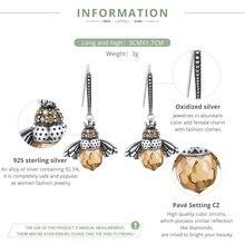 Genuine 925 Sterling Silver Lovely Orange Bee Animal Drop Earrings for Women