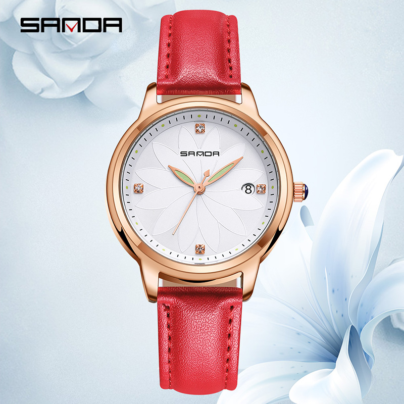 SANDA Fashion Leather Quartz Women Watches Romantic Flower Ladies Wrist Watch Women trendy ladies clock Relogio Faminino 2018SANDA Fashion Leather Quartz Women Watches Romantic Flower Ladies Wrist Watch Women trendy ladies clock Relogio Faminino 2018
