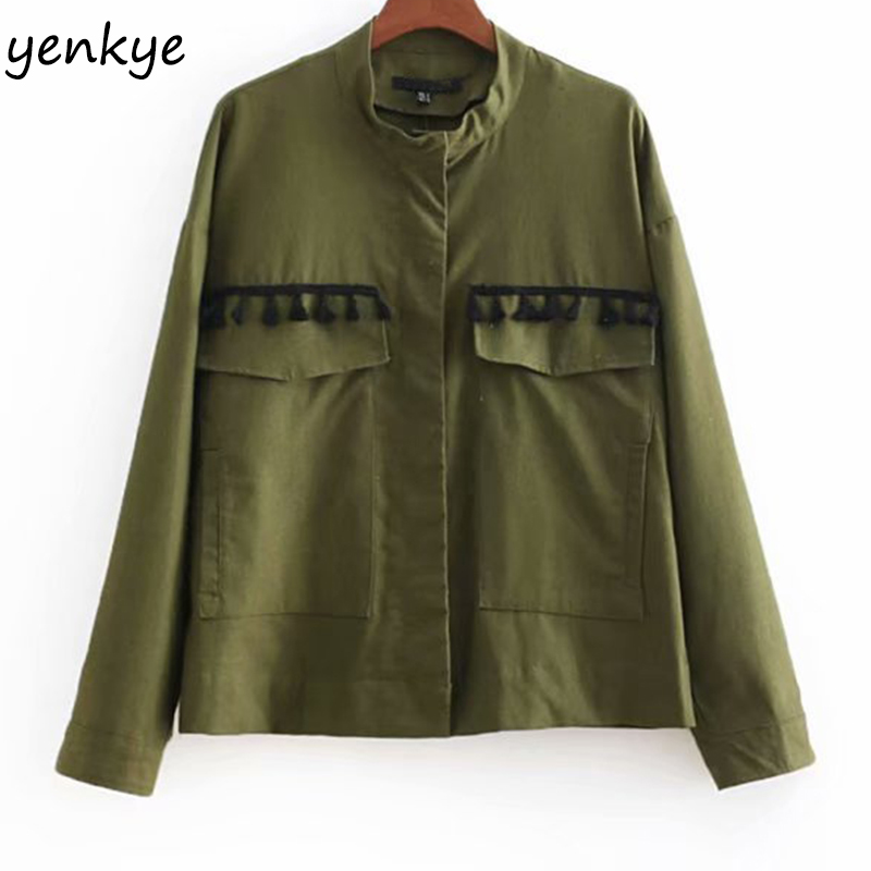 European Style Women Tassel Trims Linen Jacket Lady Stand Collar Long Sleeve Big Pockets Army Green Jacket Plus Size CCWM8713