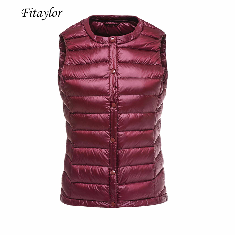 Fitaylor Women 90% White Duck Down Vest Ultra Light Duck Down Jacket Coat Female Size 3xl Warm Slim Single Breasted Parkas