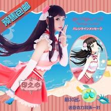 купить Aqours love live sunshine Kurosawa Dia Cosplay costume Christmas costume New Year Dress Shirt+skirt+Tie+Gloves+Headdress+Bowknot дешево