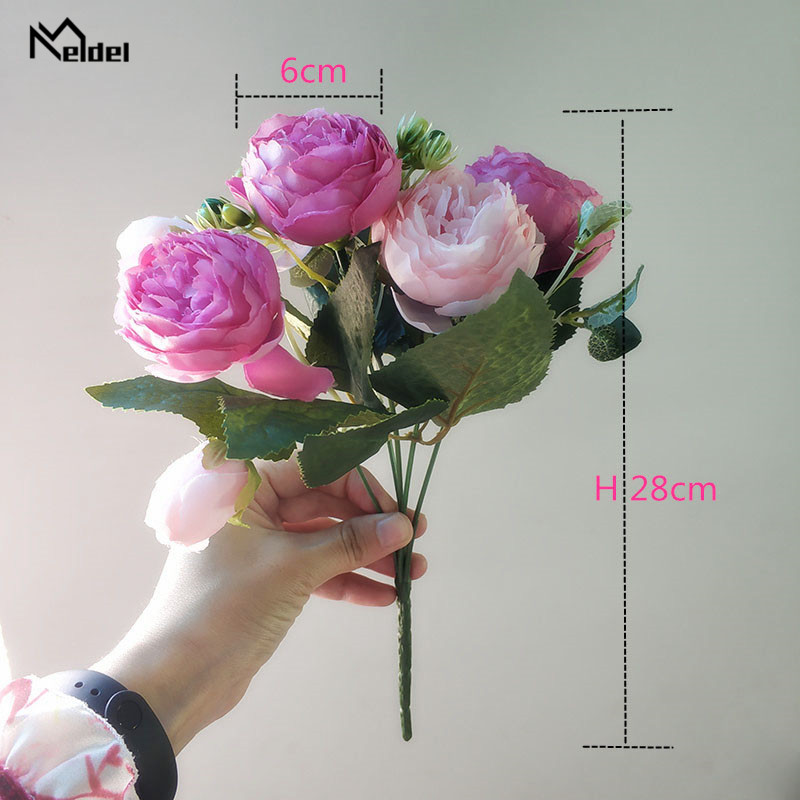 artificial flowers roses peonies wedding bouquet
