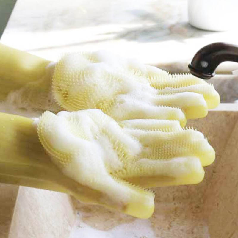 What cleaning gloves latex rubber scrubbing shower