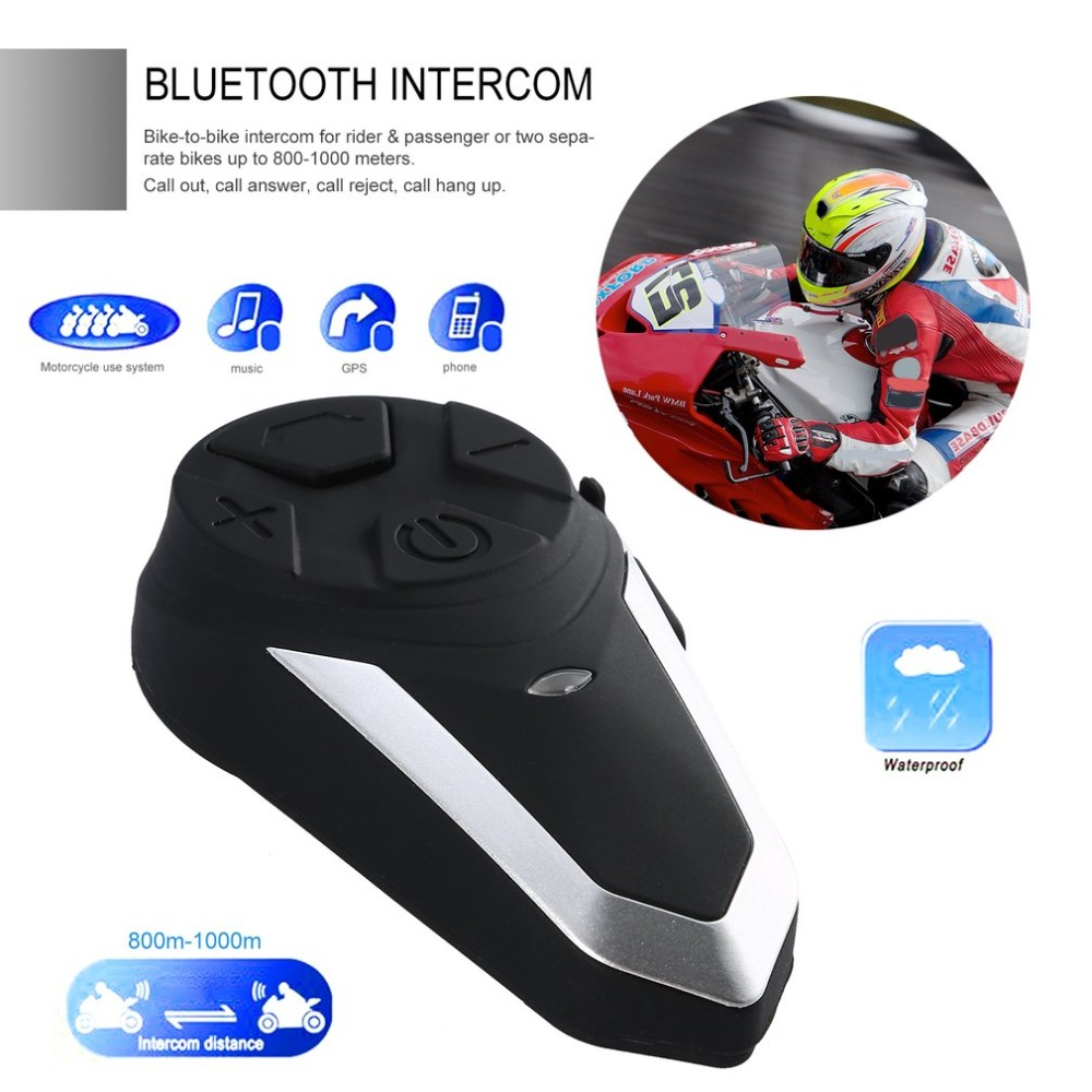1000M Motorcycle Helmet Wireless Bluetooth Intercom BT Interphone Motorbike FM Headset Portable Mini Interphone BT-S3(China)