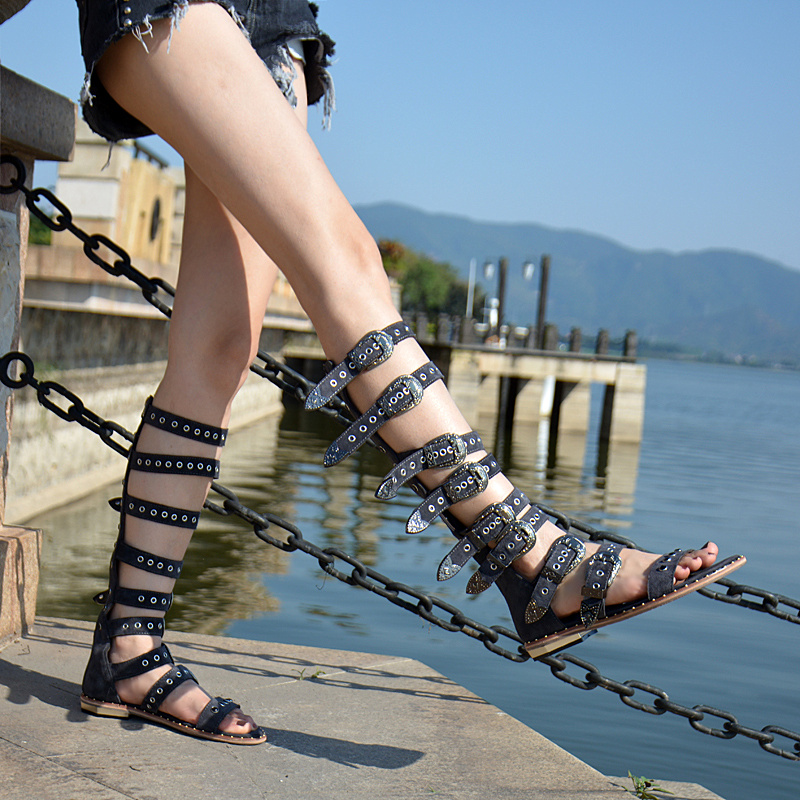 Top Selling Beach Vocation Summer Dress Shoes Women Buckle Detail Flat Sandal Boots Vintage Gladiator Strappy Sandals