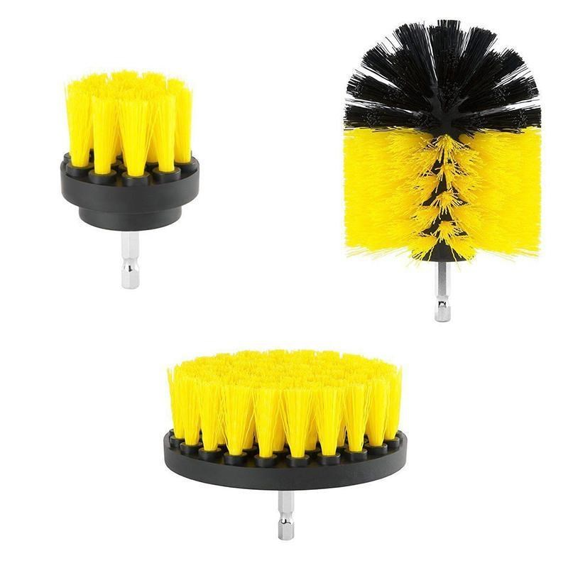 3 pcs/set Power Scrubber Brush Drill Brush for Bathroom Surfaces Tub Shower Tile Grout Cordless Power Scrub Cleaning Kit, Yellow
