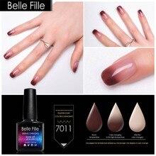 Belle Fille 2018 Pink Red Color Temperature Changing UV Gel Nail Polish Chameleon Gel Vernis Semi Permanent UV Gelpolish Primer