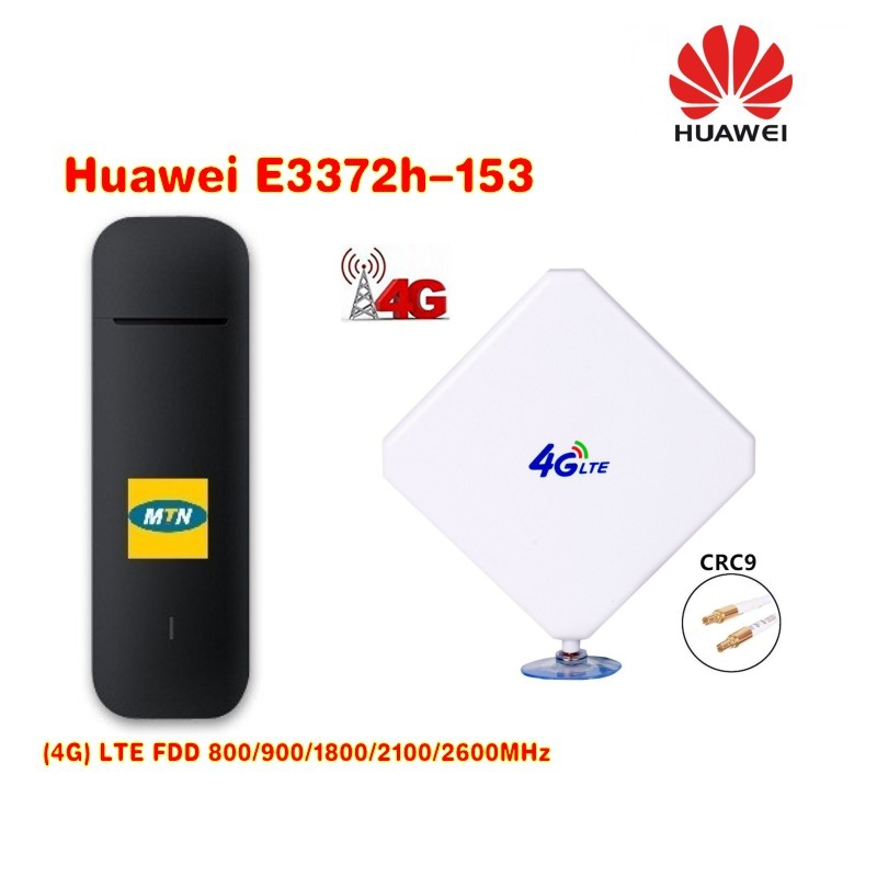 Original Unlock HUAWEI E3372h-153 150Mbps 4G LTE USB Modem With 4G crc9 35DBI Dual Antenna huawei e3372h 153 hspa lte usb modem 4g lte antenna 35dbi crc9 for e3372 4g lte fdd modem
