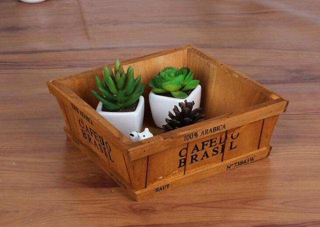 Wooden Miscellaneously Sundries Tool Storage Box Wood Logs Flower Pot