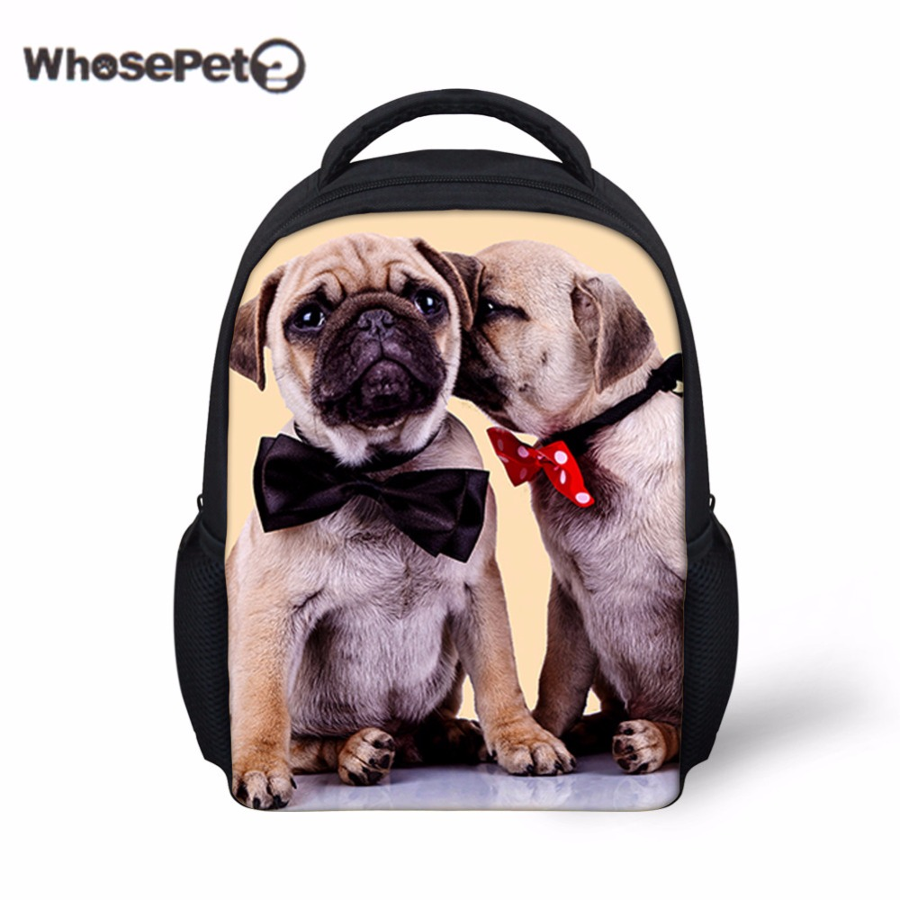 95901e9415 WHOSEPET Pugs Cute School Bag For Toddler Baby School Casual Rucksack Boys  Children 12 Inch Kindergarten Animals Shoulder Bags