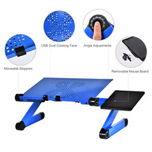 Meja Komputer Portable Adjustable Foldable Laptop Notebook Lap PC Lipat Meja dengan Cooler Fan Kipas Sofa Bed Tray(China)