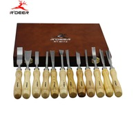 RDEER 12Pcs Wood Carving Hand Chisel Tool Set Carvers Graving Knife for Woodworking Carving Chisel DIY Detailed Hand Tools