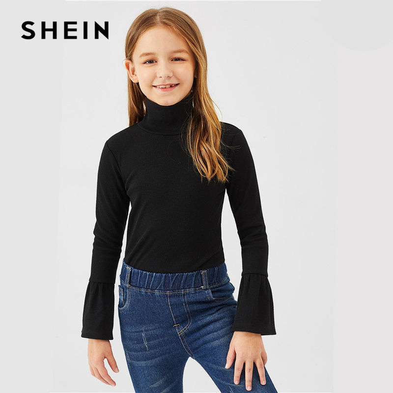 SHEIN Kiddie Black Turtleneck Flounce Long Sleeve Casual Kids T Shirt Girls Tops 2019 Spring Elegant Children Girls Shirts Tee shein kiddie white cartoon print casual t shirt toddler girl tops 2019 spring fashion short sleeve girls shirts kids tee