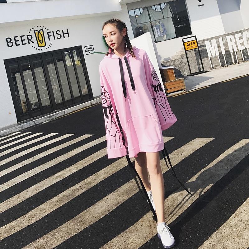 Autunno Del Primavera Moda Stampato Modello Casual Black Fasciatura Style Donna Manicotto Nuovo Cotton Street Femminile Lungo pink Felpe Dalla Jq208 nXffr8Ex