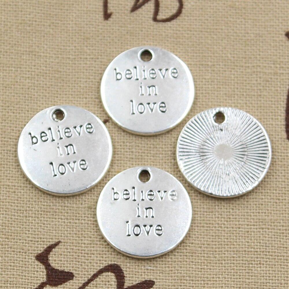 10 Stücke Charme Platten Glauben In Liebe 20x20mm Antike Silber Überzogene Anhänger, Die Diy Handgemachten Tibetischen Silber Finden Schmuck Hell In Farbe