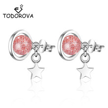 Todorova Japanese Korean Style Dream Saturn Planet Earring Cute Star Strawberry Crystal Stud Earrings for Women Girls Jewelry