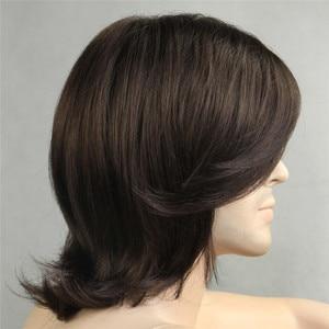 Image 4 - MSIWIGS/короткие синтетические мужские парики, Термостойкое волокно, коричневый цвет, прямой мужской парик с бесплатной сеткой для волос