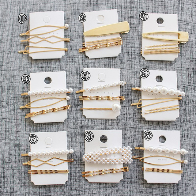 M MISM Pearls Hair Clips for Women Fashion Sweet Imitation Korean Style Hairpins Alloy BB Headmade Girls INS Hair Accessories 3
