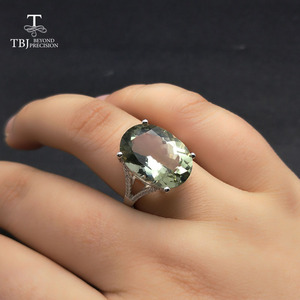 Image 5 - Big green amethyst Ring natural gemstone ring 925 sterling silver fine jewelry for girls nice Black Friday & Christmas gift