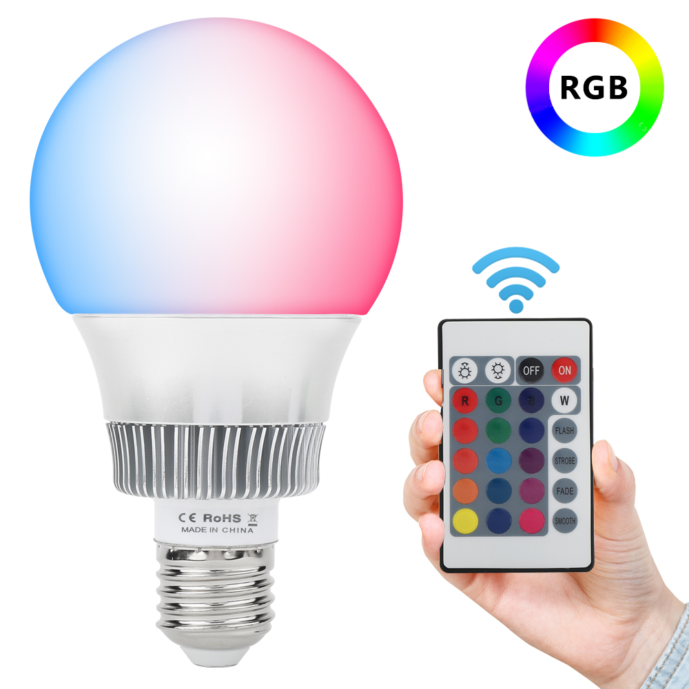 Real Wattage 85-265V RGB LED Lamp 10W 3W E14 E27 led Bulb Lamp with Remote Control led lighting free shipping e27 e14 rgb 5w 10w ac85 265v led bulb lamp with remote control multiple colour rgb led lighting