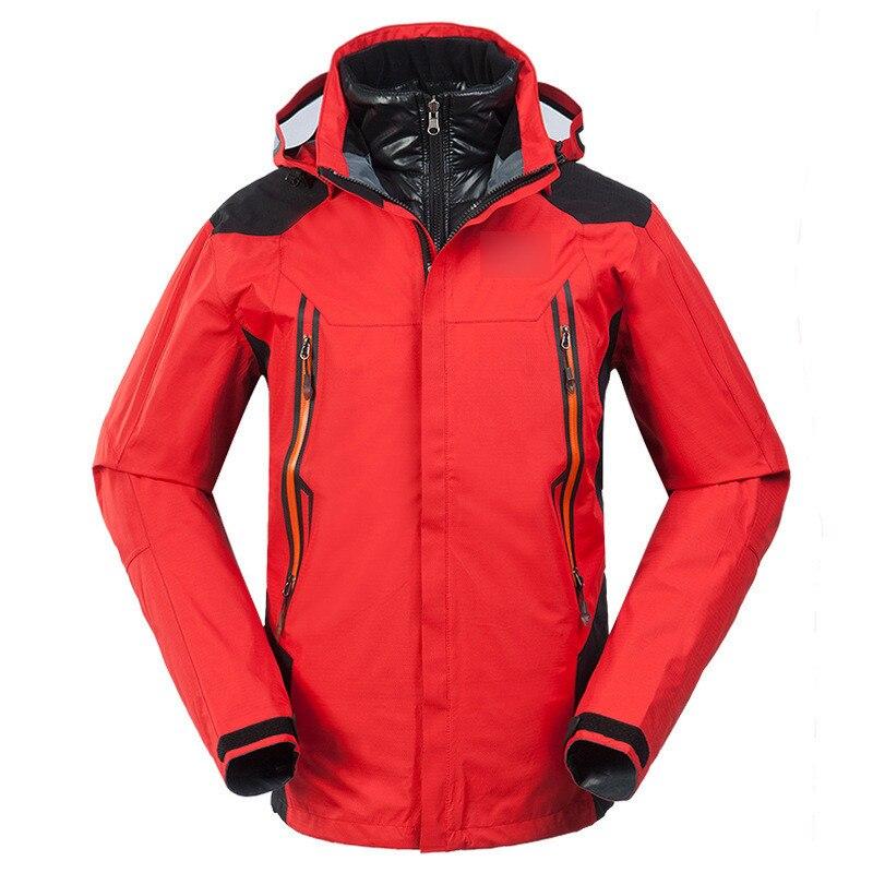 Для мужчин лыжные куртки зима сноуборд костюм Для мужчин открытый теплый Водонепроницаемый ветрозащитный дышащий вниз пальто утепленная к