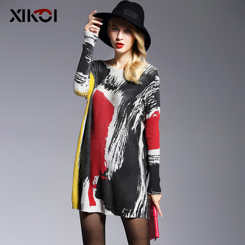 New High Quality Women S Sweaters Fashion Batwing Sleeve Print Slash Neck Pullovers Computer Knitted Sweater