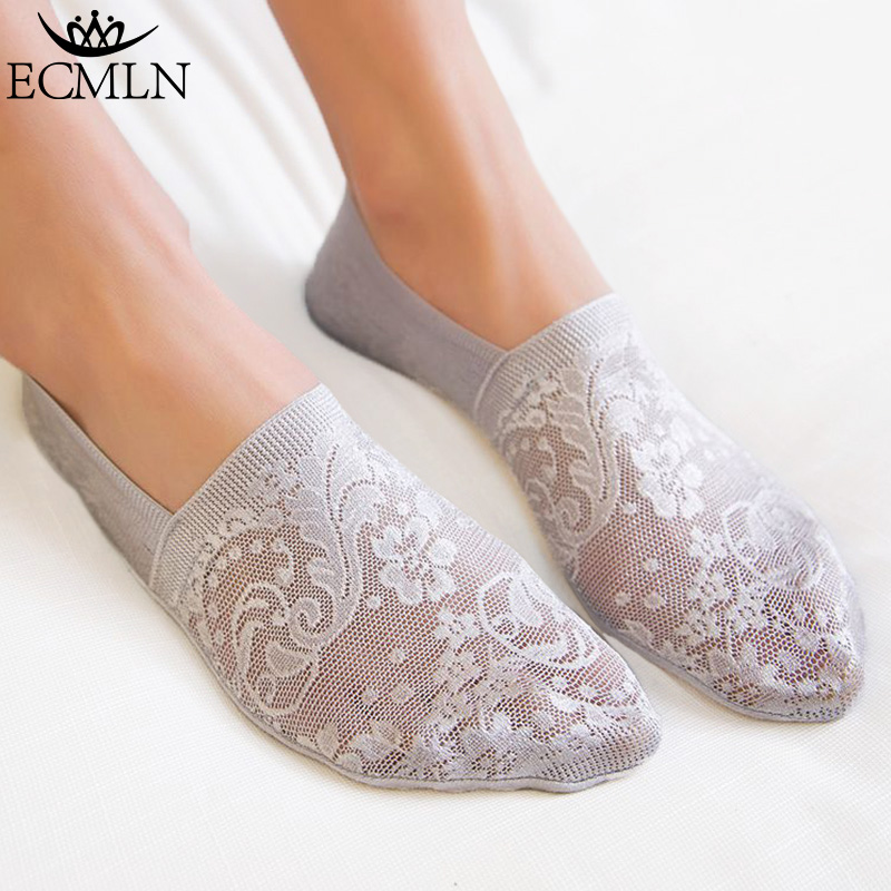 1 Pair Fashion Women Girls Summer Style Lace Flower Short Sock Antiskid Invisible 2017 Ankle Socks