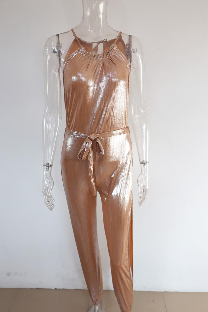 eb177366b4 Beyprern Sexy Gold Metallic Slit Leg Harem Jumpsuits Rompers Stylish ...