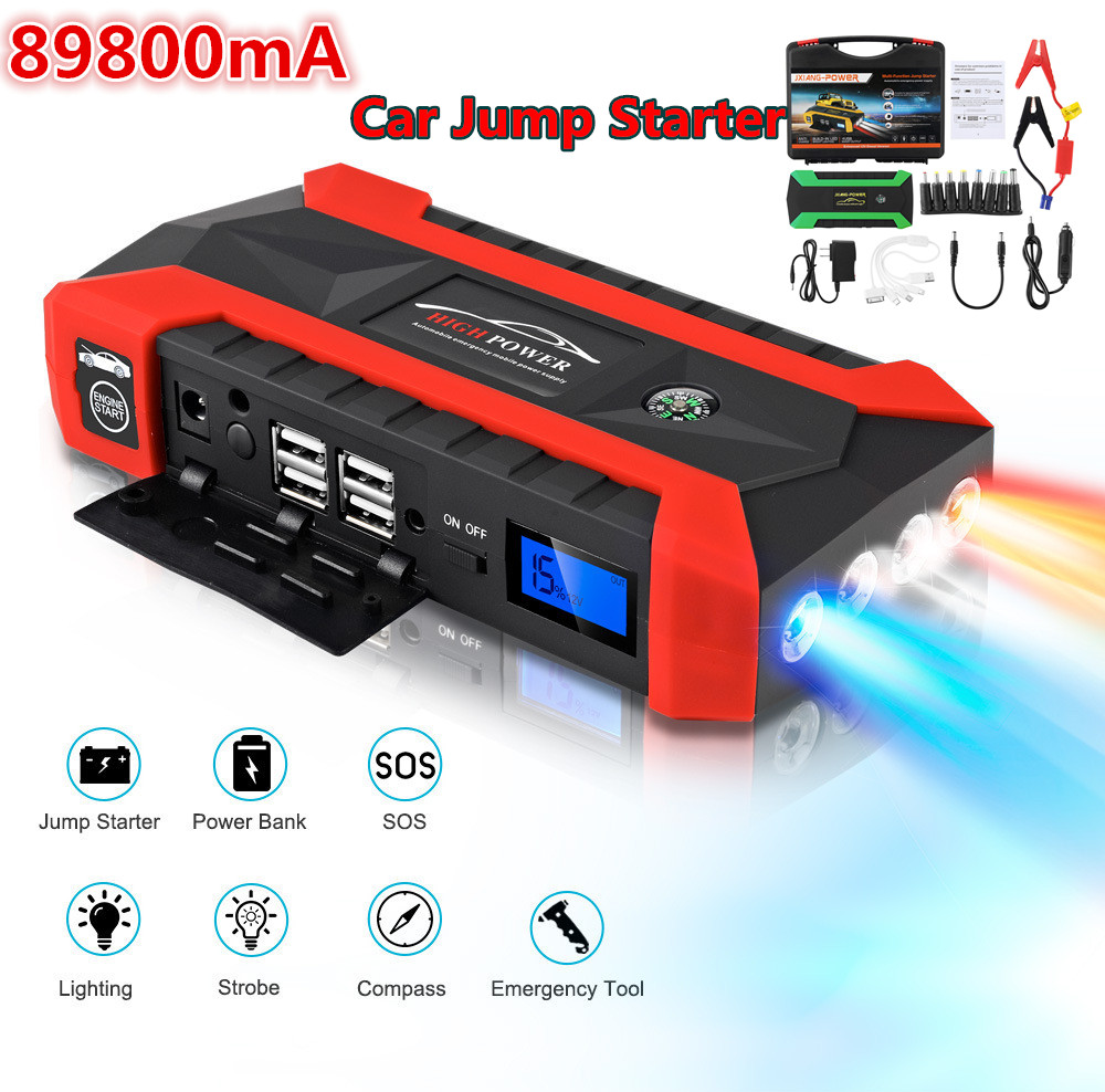 89800mAh High Power Car Jump Starter 12V 4USB Portable Starting Device Power Bank Kit Car Charger For Car Battery Booster Buster