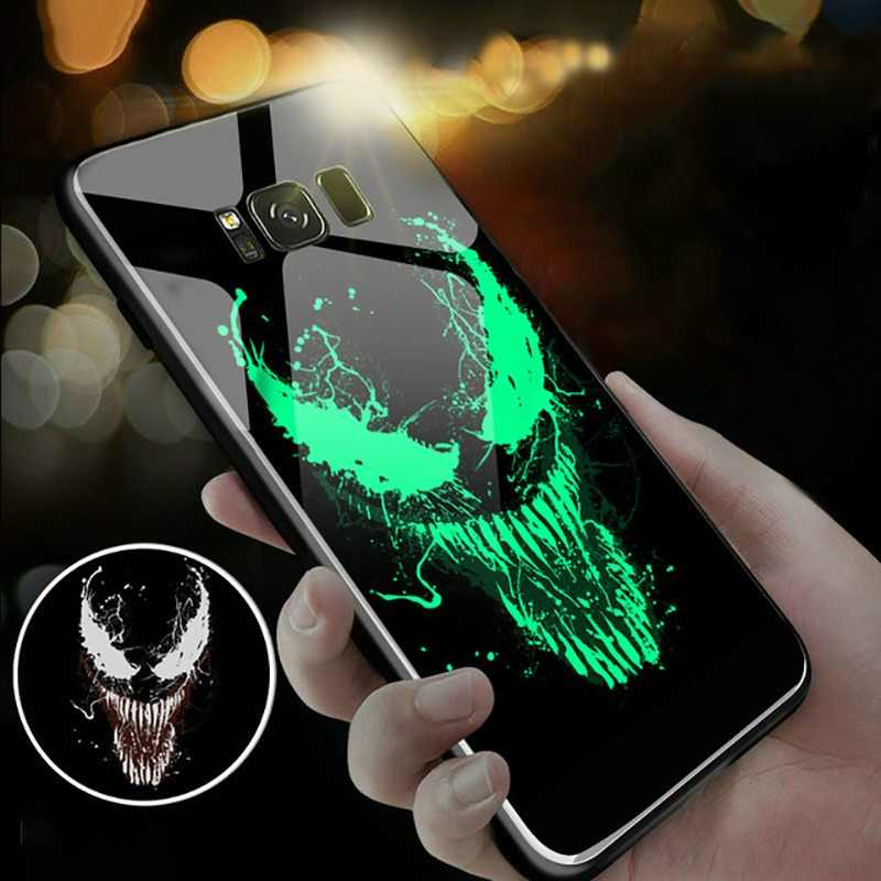 Marvel Venom Batman Luminous Glass Case For Samsung Galaxy S7 S8 S9 S10 e A7 A8 Plus Note 8 9 Black Panther Iron Man Phone Cover