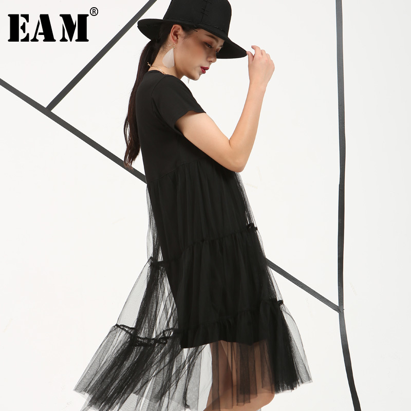 [EAM] Women Mesh Irregular Stitch Temperament Dress New Round Neck Short Sleeve Loose Fit Fashion Tide Spring Summer 2020 B3362