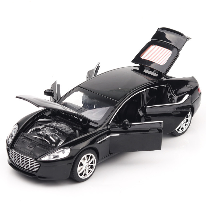 For Aston Martin 6 Door Car Model Toy Diecast Sound and Light Pull Back Super Racing Car Model Home Ornaments Kids Toys Boys Car