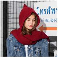 2018 Brand Design Women S Hooded Scarf Winter Wool Knitted Earflap Hats Snood Wraps Solid Crochet