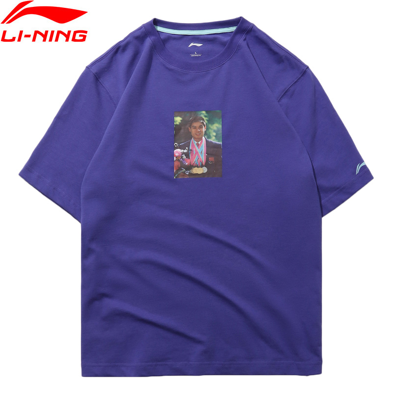 Li-Ning PFW Men Li's Photo Tee Printing T-Shirt 100% Cotton Loose Fit Breathable LiNing Sports Tee Tops AHSN857 MTS2879 men button decoration plain tee