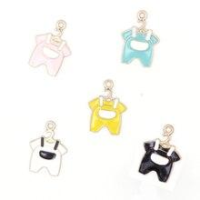 10pcs/lot Baby Cloth Design DIY Enamel Necklace Bracelet Pendants Charms Handmade Alloy Jewelry Decoration Accessories YZ344