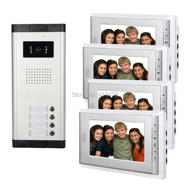 4 Units Apartment Intercom Entry System Wired 7 Monitor Audio