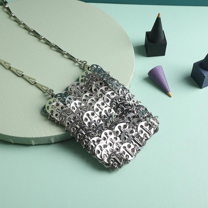 2019 nouveau métal chaîne unique épaule femmes sac téléphone sac Designer pochette pour femmes femmes Messenger sacs clair sac à main seau Rock