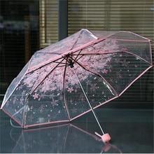 Transparent PVC Rainy Umbrella Women Clear Cherry Blossom Umbrella Clear Flower Mushroom 3 Fold Lady Girl Raim Umbrellas sale