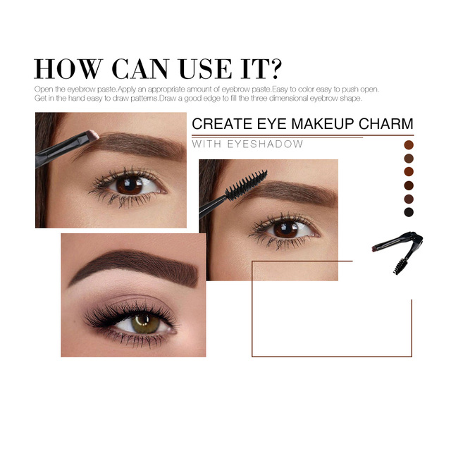O.TWO.O Eyebrow Gel 6 Colors 3D Natural Brown Eye Brow Shade Make Up Profesional Long Lasting Brow Paint Cosmetics With Brush 2