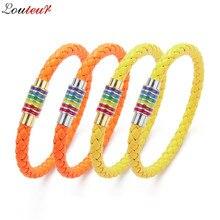 LOULEUR Women Braid Leather Bracelet Friendship Rainbow Magnetic Clasp Charm Bracelets & Bangles Fashion Men Jewelry