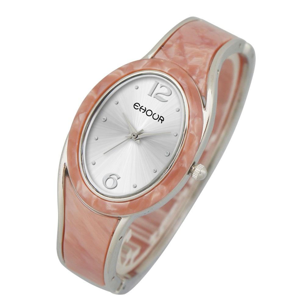Ehour Retro Cellulose Acetate Plastic Clock female Dress Girl Bracelet Bangle Quartz Watch Woman Wristwatch Oval Vintage relojes gum tragacanth и carboxyмethyl cellulose где