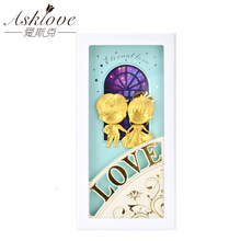 Asklove Love pictures Gold foil Painting Girlfriend Wedding Gifts Wall art pictures Living room Romantic ornaments Home decor