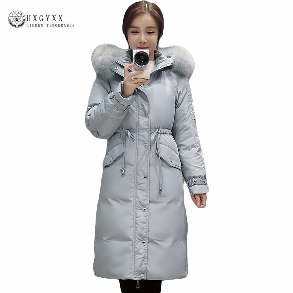 Long 90% White Duck Down Coat Winter Jacket Women 2017 Thicken Warm Raccoon Fur Collar Hooded Parka Slim Puffer Overcoat Okb136