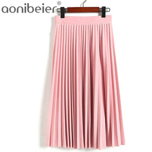 Spring Autumn New 2017 Fashion Women's High Waist Pleated Solid Color Length Elastic Skirt Promotions Lady Black Pink Party