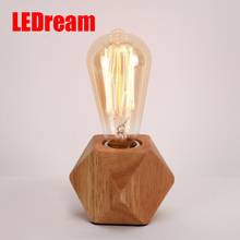 Vintage Wood Table Lamp Fashonial Wood Light Modern Industrial lamp Beside Table Lamp Union Lighting Fixtures