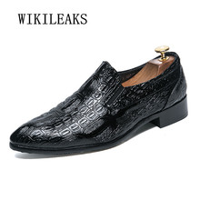 Men Shoes Crocodile-Skin Genuine-Leather High-Quality for Formal Mariage