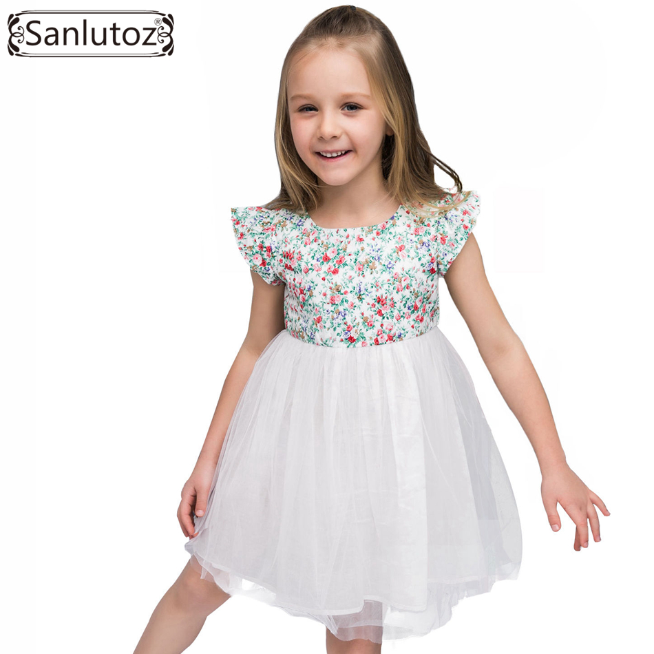 Sanlutoz Flower Girl Dress Tutu Children Clothing Brand Costume for Kids Toddler Party Wedding Princess Summer 2017 children girl tutu dress super hero girl halloween costume kids summer tutu dress party photography girl clothing